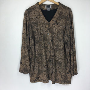 Maggie Barnes 1X Blouse Cardigan Button Gold